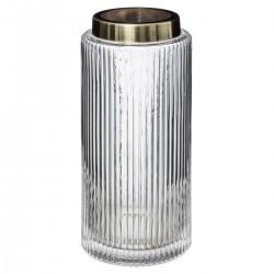 Vase en verre et inox H26,5cm FLOWER FACTORY - Blanc transparent