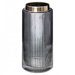 Vase en verre et inox H26,5cm FLOWER FACTORY - Gris transparent
