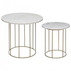 Lot de 2 tables à café en marbre - Marbre et doré