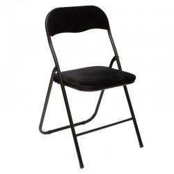 Chaise pliante en velours - Noir