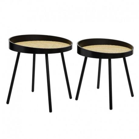 Lot de 2 tables à café en cannage ARTY STUDIO - Noir