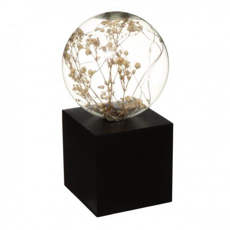 Lampe ampoule microled à fleurs sur socle H17cm ARTY STUDIO - Noir