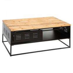 Table basse en métal et en bois 110X60cm CIERNA, THE CUBA FACTORY - Noir