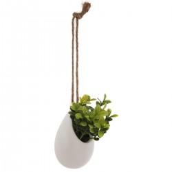 Plante artificielle en pot céramique à suspendre H11cm - Blanc