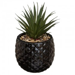 Plante artificielle en pot ananas en céramique H21cm - Noir