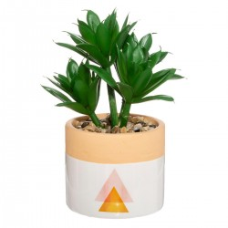 Plante artificielle en pot céramique H15cm ARTY STUDIO - Rose orange