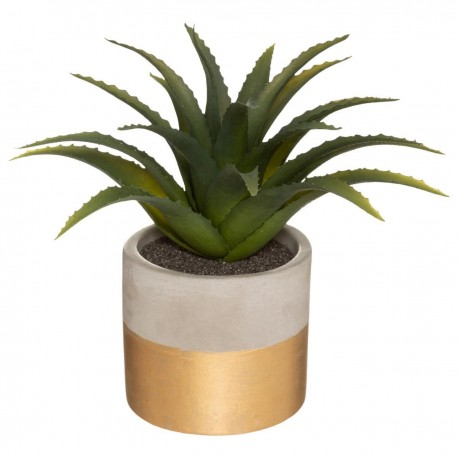 Plante artificielle en pot ciment bicolore H28cm - Doré