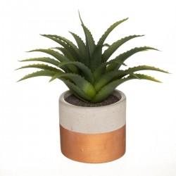 Plante artificielle en pot ciment bicolore H28cm - Cuivre