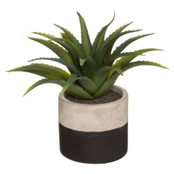 Plante artificielle en pot ciment bicolore H28cm - Noir