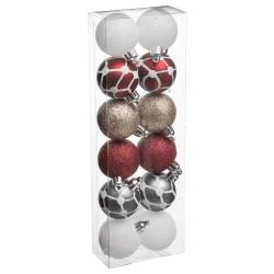 Coffret de 12 boules de noël 40mm - Multicolore