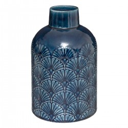 Vase en relief en céramique H21,7cm TO FEEL GOOD - Bleu