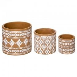 Lot de 3 pots en ciment HACIENDA - Terracota