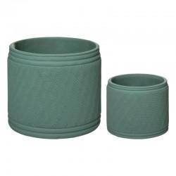Lot de 2 pots en ciment CELA HOUSE - Vert céladon