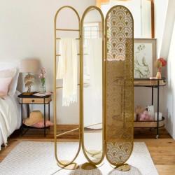 Paravent miroir H175cm LEONE 2 - Doré