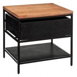 Table de chevet YOHO, HÔTEL CLUB - Noir et bois