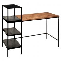 Bureau avec étagère YOHO, HÔTEL CLUB - Noir et bois