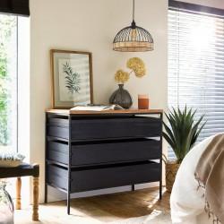 Commode à 3 tiroirs YOHO, HÔTEL CLUB - Noir et bois