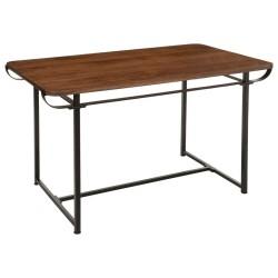 Bureau en acier et bois de manguier COURBE - Marron