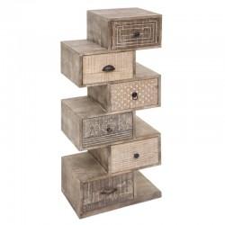 Commode 6 tiroirs en bois de manguier AJAY - Sable