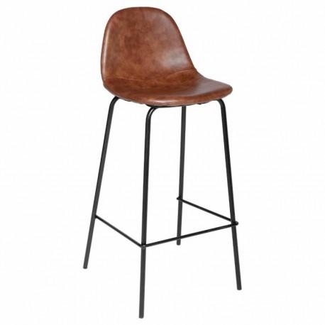 Tabouret de bar en simili cuir vladi marron veo shop - Tabouret bar cuir marron ...
