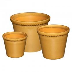 Lot de 3 pots en céramique IDYLLE FOLK - Ocre