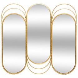 Miroir tryptique en métal 69X72cm ÉDITION VÉGÉTALE - Doré