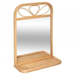 Miroir étagère en rotin AONI, JOLIE LIBERTY - Beige moyen