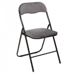 Chaise pliante en velours - Gris