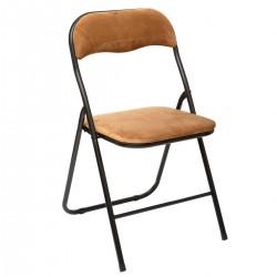 Chaise pliante en velours - Ocre camel