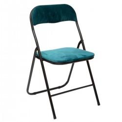 Chaise pliante en velours - Bleu canard