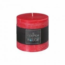 Bougie rustique ronde H10cm - Rouge