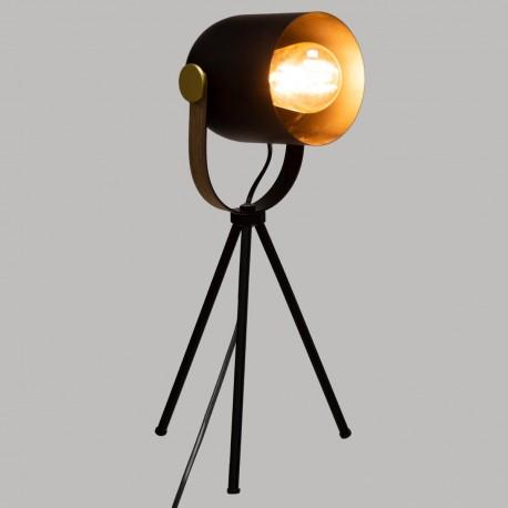 Lampe en métal sur trépied H45cm - Noir