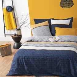 Parure de lit imprimé à rayures ÉTHNIQUE 240X220cm - Bleu et ocre