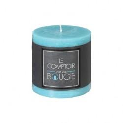 Bougie rustique ronde H7cm - Turquoise