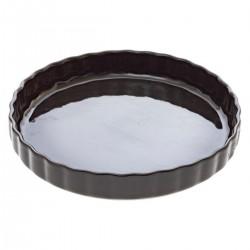 Plat à tarte en céramique D28cm - Gris foncé