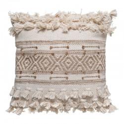 Coussin en coton et en jute à pompons 45X45cm - Sable