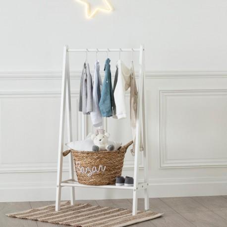 Petit portant à vêtements en bois pour enfant H115cm - Blanc