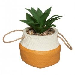 Plante artificielle en pot ciment H15,5cm HACIENDA - Ocre