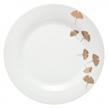 Assiette plate D27cm GINGKO - Blanc et doré