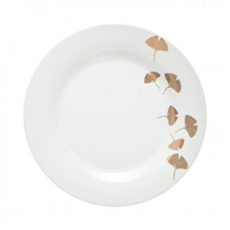Assiette de dessert D19cm GINGKO - Blanc et doré
