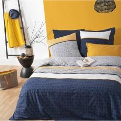 Parure de lit imprimé rayures ÉTHNIQUE 260X240cm - Bleu et jaune
