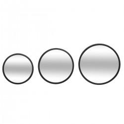 Lot de 3 miroirs en métal perforé MONA - Noir