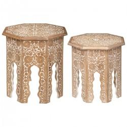 Lot de 2 tables à café en bois de manguier SHIBA, NAM-NAM - Naturel