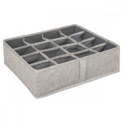 Rangement à tiroirs 16 compartiments 31X31cm - Gris beige chiné