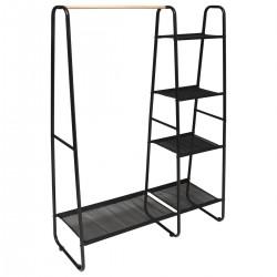 Portant à vêtements en métal avec étagères H150cm ARTEMIS - Noir