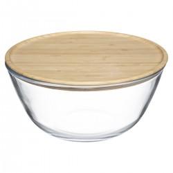 Saladier en verre avec couvercle en bambou 2,5L - Transparent