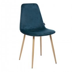 Chaise en velours ROKA - Bleu canard