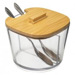 Sucrier en verre et couvercle en bambou avec cuillère LIZO - Transparent