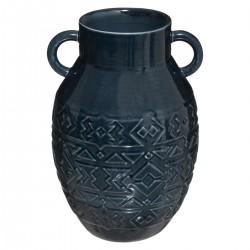 Vase en céramique H25cm HACIENDA - Bleu canard foncé