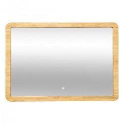 Miroir rectangle mural en bambou à LED 47X66cm - Naturel